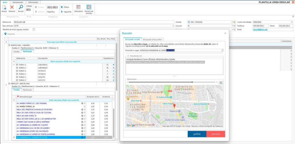 software gestión empresa autocares linea regular-paradas